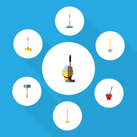 Flat Icon Mop Set Of Bucket, Besom, Mop And Other Vector Objects. Also Includes Mop, Bucket, Cleaning Elements. Illustration