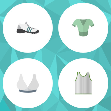 Flat Icon Clothes Set Of Brasserie, Casual, Sneakers And Other Vector Objects. Also Includes Tank, Shoes, Sneakers Elements. Çizim