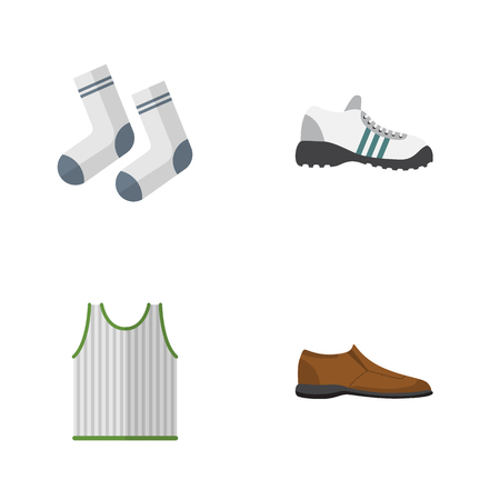 gym dress: Flat Icon Clothes Set Of Singlet, Male Footware, Sneakers And Other Vector Objects. Also Includes Sneakers, Footware, Tank Elements.