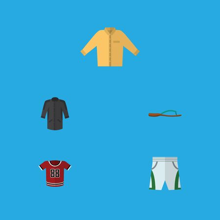 Flat Icon Garment Set Of Trunks Cloth, T-Shirt, Beach Sandal Vector Objects. Also Includes Banyan, Sandal, Blouse Elements. Illustration