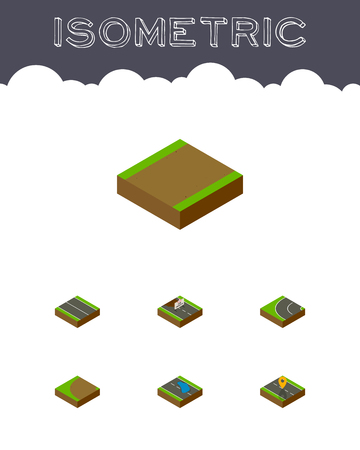 Isometric Way Set Of Footpath, Flat, Navigation And Other Vector Objects. Also Includes Bitumen, Location, Road Elements.