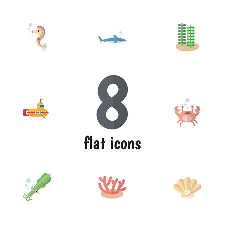 Flat Icon Marine Set Of Seaweed, Conch, Hippocampus And Other Vector Objects. Also Includes Horse, Shark, Periscope Elements.