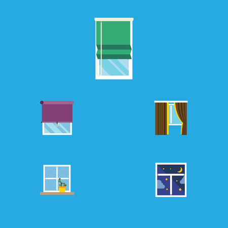 veranda: Flat Icon Frame Set Of Glass, Glazing, Balcony And Other Vector Objects. Also Includes Curtain, Glass, Flower Elements. Illustration