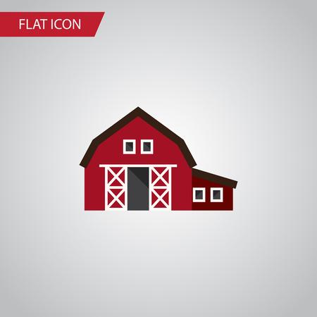 Icona piana capannone isolato. L'elemento di vettore del ranch può essere usato per il ranch, tettoia, concetto di progetto del granaio. Vettoriali