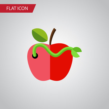 Isolated Rotten Flat Icon. Worm Vector Element Can Be Used For Worm, Rotten, Apple Design Concept.