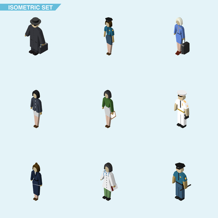 policewoman: Isometric Person Set Of Girl, Pedagogue, Policewoman And Other Vector Objects. Also Includes Policewoman, Detective, Officer Elements.