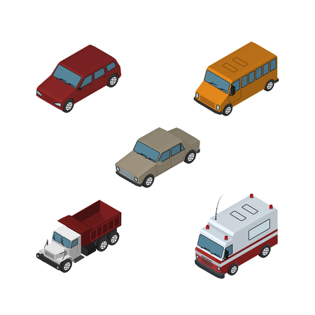Isometric Car Set Of Freight, First-Aid, Auto And Other Vector Objects. Also Includes Bus, Truck, Drive Elements.