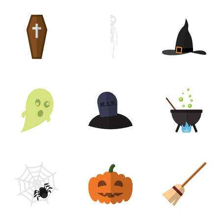 Flat Icon Festival Set Of Magic, Casket, Spinner And Other Vector Objects. Also Includes Arachnid, Cranium, Grave Elements. Illustration