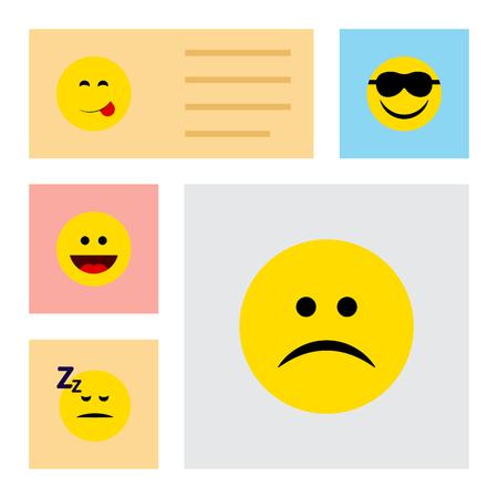Plano icono cara conjunto de triste, dormido, feliz y otros objetos vectoriales. También incluye elementos durmientes, tristes y de mueca.