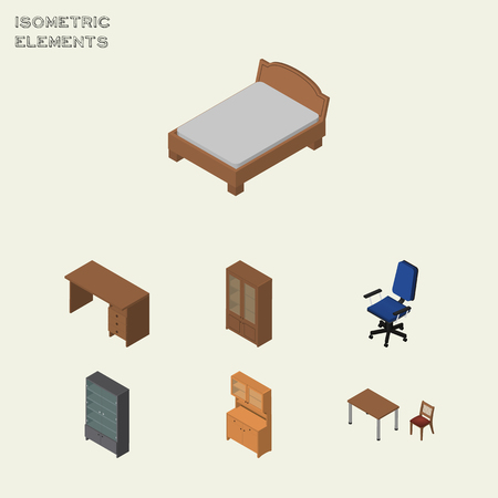 Isometric Furnishing Set Of Cupboard, Sideboard, Table And Other Vector Objects. Also Includes Chair, Cabinet, Closet Elements.