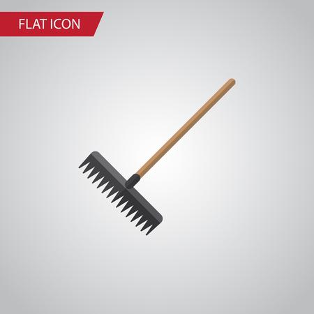 Isolated Rake Flat Icon. Harrow Vector Element Can Be Used For Rake, Harrow, Tool Design Concept.