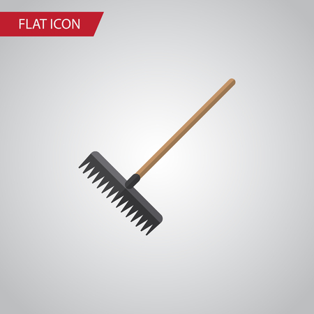 raking: Isolated Rake Flat Icon. Harrow Vector Element Can Be Used For Rake, Harrow, Tool Design Concept.