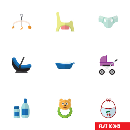 incontinence: Flat Icon Baby Set Of Pram, Stroller, Rattle And Other Vector Objects. Also Includes Baby, Child, Pinny Elements.