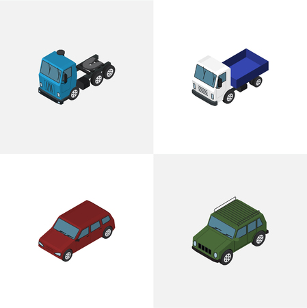 Isometric Automobile Set Of Armored, Truck, Car And Other Vector Objects. Also Includes Armored, Suv, Sedan Elements. Illustration