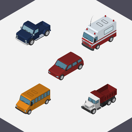 Isometric Automobile Set Of First-Aid, Autobus, Freight And Other Vector Objects. Also Includes Ambulance, Freight, Aid Elements.