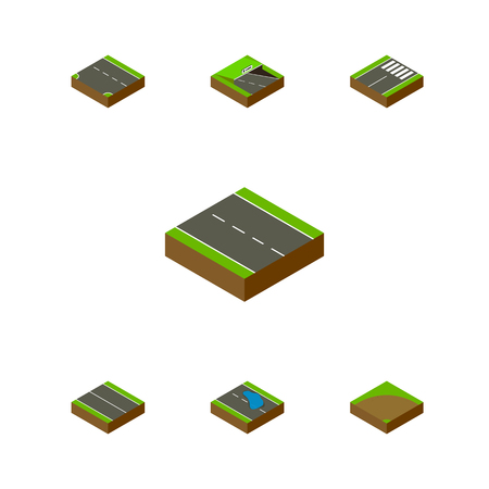 Isometric Road Set Of Downward, Single-Lane, Footer And Other Vector Objects. Also Includes Underground, Plash, Road Elements.