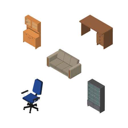 sideboard: Isometric Furnishing Set Of Couch, Sideboard, Office And Other Vector Objects. Also Includes Desk, Armchair, Couch Elements.