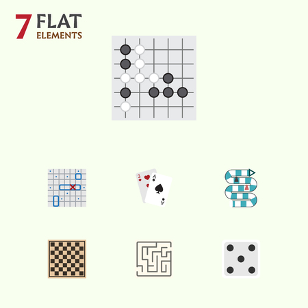 Flat Icon Play Set Of Ace, Backgammon, Chess Table And Other Vector Objects. Also Includes Gambling, Gomoku, Lost Elements.