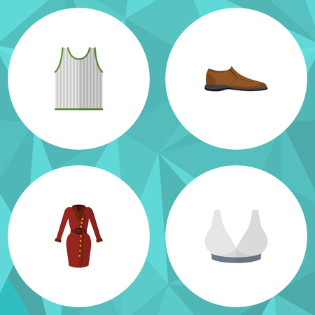 Flat Icon Garment Set Of Male Footware, Singlet, Clothes And Other Vector Objects. Also Includes Singlet, Tank, Sport Elements.