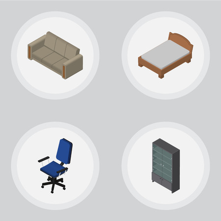 Isometric Design Set Of Office, Sideboard, Bedstead And Other Vector Objects. Also Includes Settee, Sofa, Sideboard Elements. Illustration
