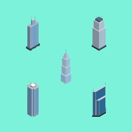Isometric Skyscraper Set Of Business Center, Skyscraper, Tower And Other Vector Objects. Also Includes Building, Cityscape, Skyscraper Elements.