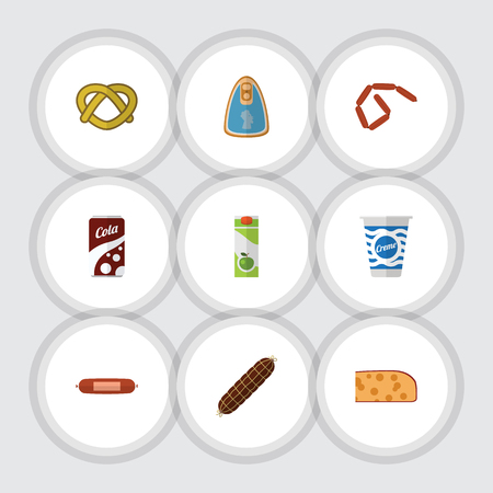 Flat Icon Meal Set Of Fizzy Drink, Canned Chicken, Bratwurst And Other Vector Objects. Also Includes Biscuit, Bratwurst, Cheese Elements. Ilustração