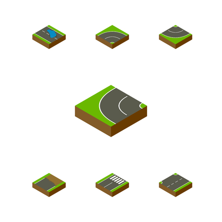 Isometric Road Set Of Bitumen, Upwards, Unfinished And Other Vector Objects. Also Includes Puddle, Asphalt, Road Elements.