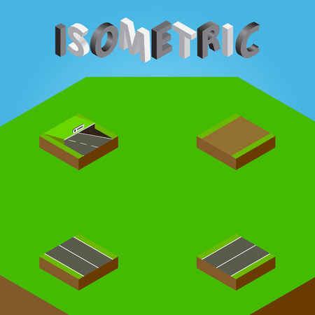 Isometric Way Set Of Plane, Footpath, Underground And Other Vector Objects. Also Includes Plane, Subway, Highway Elements. Illustration