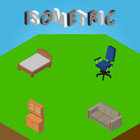 Isometric Furniture Set Of Cupboard, Couch, Office And Other Vector Objects. Also Includes Chair, Closet, Wardrobe Elements.