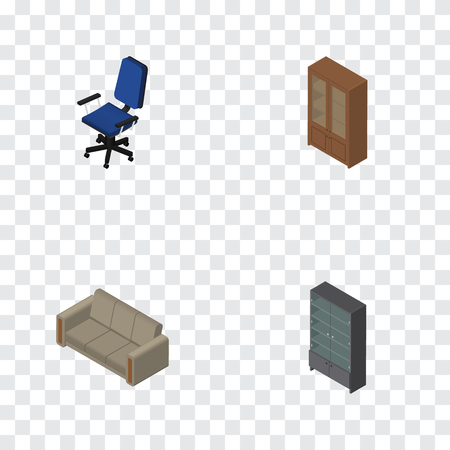 Isometric Furniture Set Of Office, Cabinet, Couch And Other Vector Objects. Also Includes Cupboard, Cabinet, Locker Elements.
