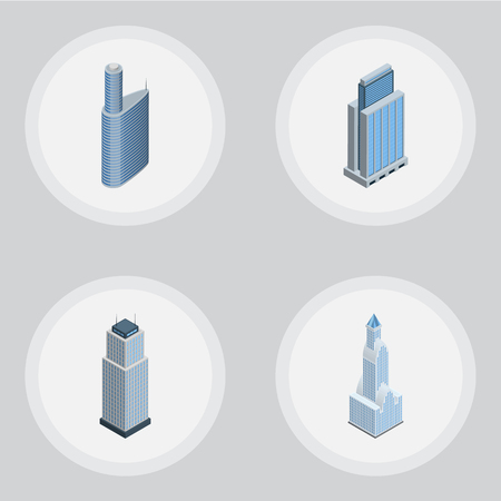 miniature: Isometric Construction Set Of Tower, Building, Cityscape And Other Vector Objects. Also Includes Apartment, Exterior, Skyscraper Elements.