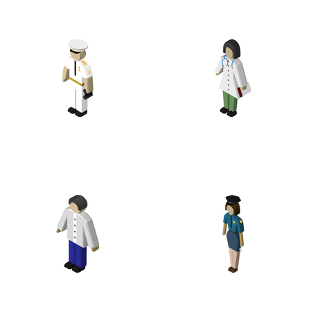 Isometric Person Set Of Seaman, Doctor, Policewoman And Other Vector Objects. Also Includes Sailor, Man, Boy Elements.