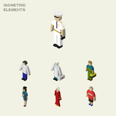 Isometric Human Set Of Male, Medic, Female And Other Vector Objects. Also Includes Technician, Policewoman, Girl Elements.
