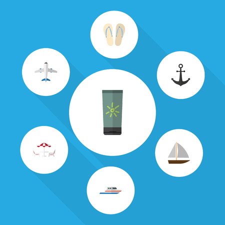 Flat Icon Summer Set Of Aircraft, Beach Sandals , Yacht Vector Objects. Also Includes Flip, Sun, Aircraft Elements.