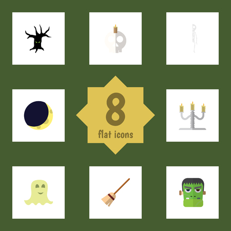 undead: Flat Icon Celebrate Set Of Candlestick, Broom, Monster Vector Objects. Also Includes Skull, Candelabrum, Skeleton Elements. Illustration