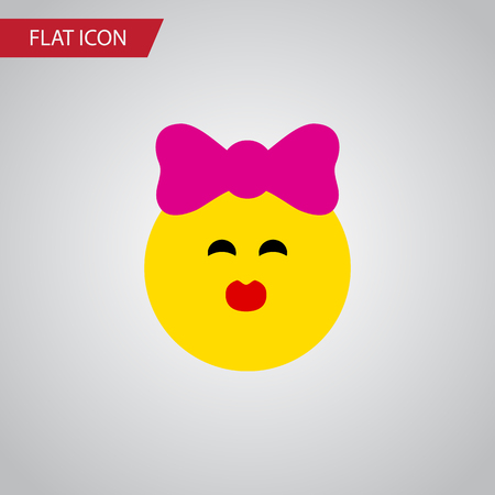 Isolated Kiss Flat Icon. Caress Vector Element Can Be Used For Kiss, Smile, Emoji Design Concept.