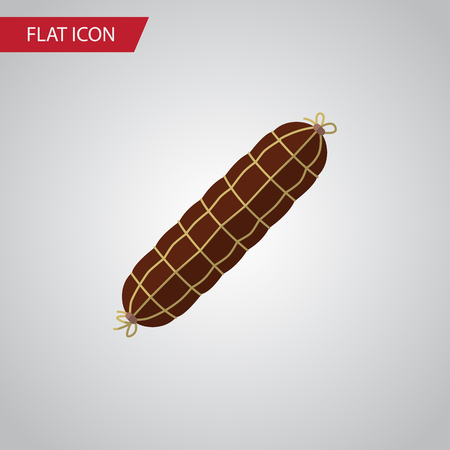Isolated Bratwurst Flat Icon. Smoked Sausage Vector Element Can Be Used For Bratwurst, Smoked, Sausage Design Concept. Illustration