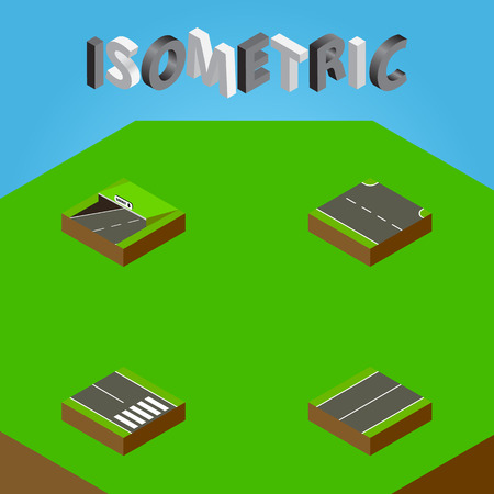 Isometric Way Set Of Subway, Plane, Rightward And Other Vector Objects. Also Includes Road, Plane, Rightward Elements.