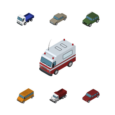 Isometric Automobile Set Of Lorry, Autobus, Car And Other Vector Objects. Also Includes Ambulance, Suv, Sedan Elements. Illustration