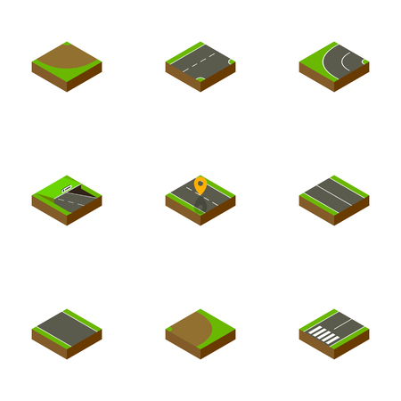 Isometric Way Set Of Flat, Underground, Without Strip And Other Vector Objects. Also Includes Turning, Downward, Plane Elements. Illustration