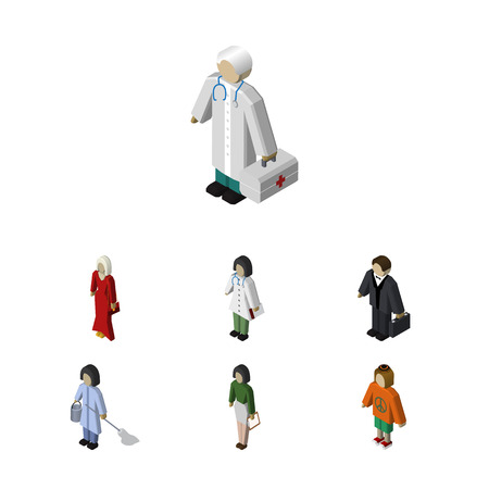 Isometric Person Set Of Lady, Female, Medic And Other Vector Objects. Also Includes Female, Investor, Human Elements. Illustration