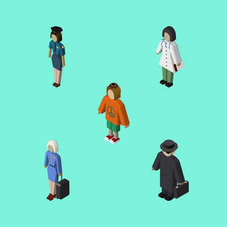 等尺性の人々 は、ホステス、探偵、女性、他のベクトル オブジェクトのセット。婦人警官、スチュワーデスの要素も含まれています。  イラスト・ベクター素材