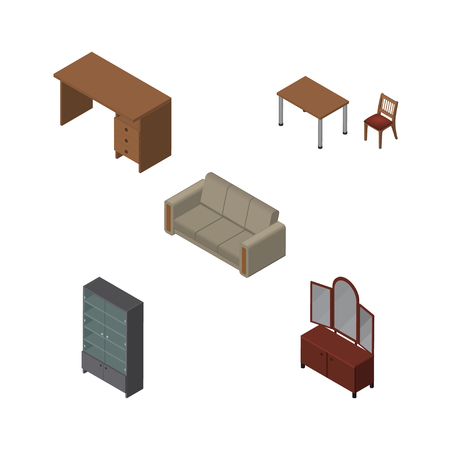 arredamento classico: Isometric Furnishing Set Of Table, Chair, Drawer And Other Vector Objects. Also Includes Desk, Cupboard, Settee Elements. Vettoriali