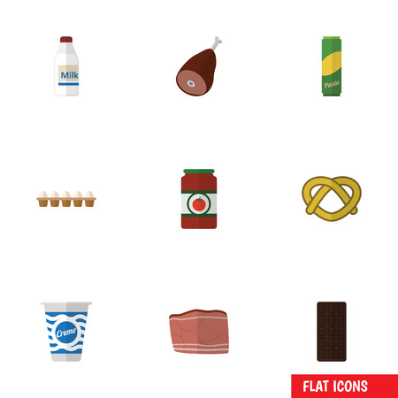Flat Icon Food Set Of Spaghetti, Ketchup, Eggshell Box And Other Vector Objects. Also Includes Bar, Spaghetti, Eggshell Elements. Ilustração