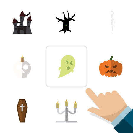 citadel: Flat Icon Festival Set Of Cranium, Skeleton, Fortress And Other Vector Objects. Also Includes Gourd, Casket, Candle Elements.