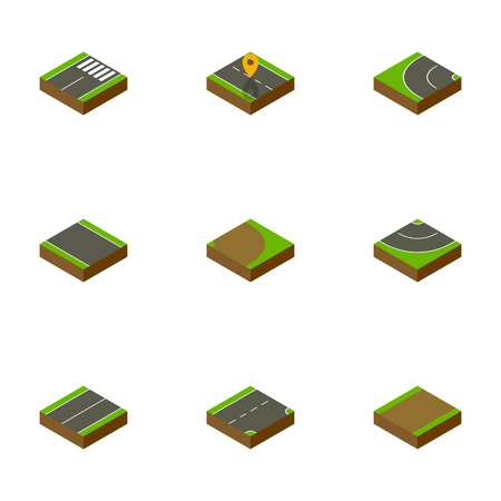 Isometric Road Set Of Plane, Without Strip, Footpath And Other Vector Objects. Also Includes Plane, Footpath, Highway Elements.