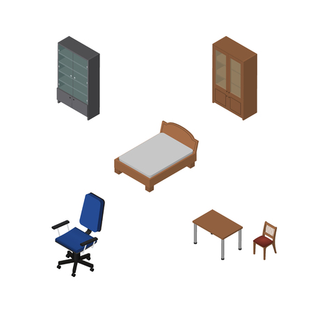 Isometric Design Set Of Sideboard, Office, Cabinet And Other Vector Objects. Also Includes Cabinet, Office, Sideboard Elements.