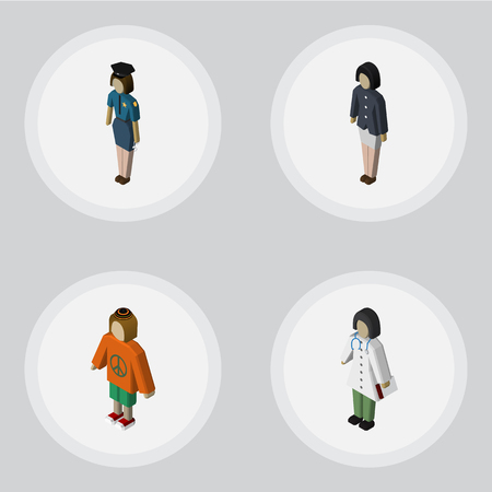 femme policier: Isometric Person Set Of Doctor, Policewoman, Lady And Other Vector Objects. Also Includes Doctor, Policewoman, Girl Elements.