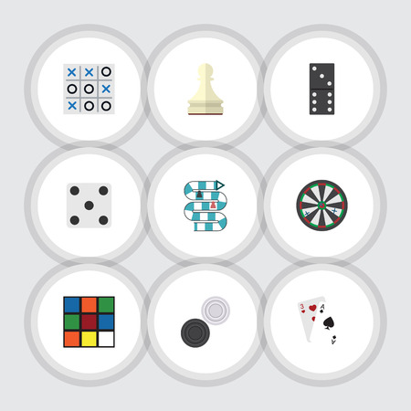 backgammon: Flat Icon Games Set Of X&O, Backgammon, Bones Game And Other Vector Objects. Also Includes Cards, Ace, Chequer Elements. Illustration