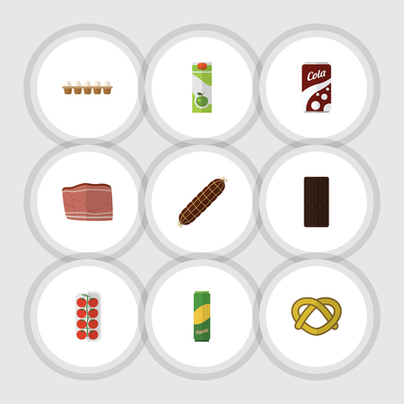 bretzel: Flat Icon Food Set Of Confection, Tomato, Cookie And Other Vector Objects. Also Includes Bar, Fizzy, Smoked Elements.